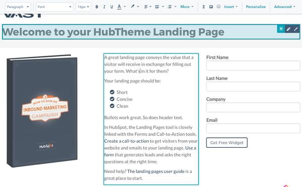 HubSpot landingspage editor