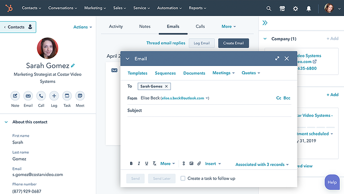 HubSpot Sales Hub Start Conversation